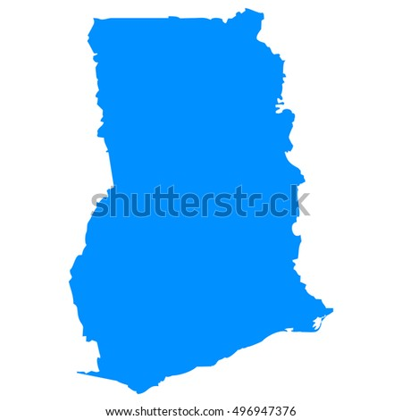 High detailed blue vector map, Ghana