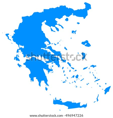 High detailed blue vector map, Greece