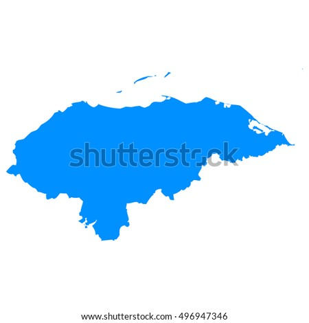 High detailed blue vector map, Honduras