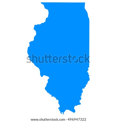 High detailed blue vector map, Illinois