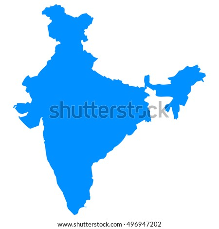 High detailed blue vector map, India