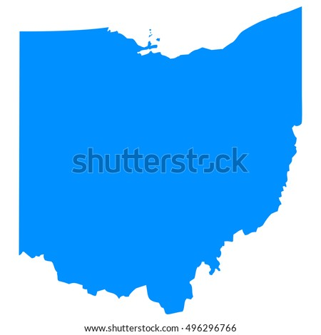 High detailed blue vector map - Ohio