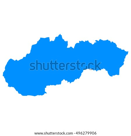 High detailed blue vector map - Slovakia