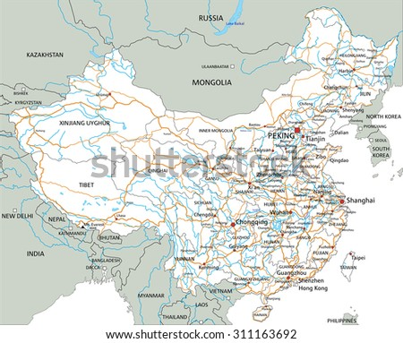 High detailed China road map with labeling. - stock vector