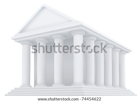 High detailed 3d vector illustration of an ancient building - stock vector
