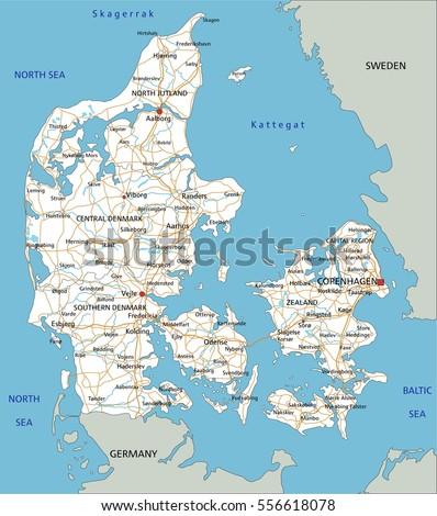 High Detailed Denmark Road Map Labeling Stock Vector 556618078