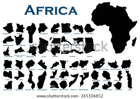 High detailed editable illustration of all African countries. - stock vector