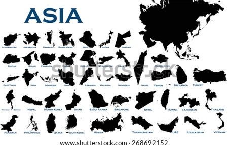 High detailed editable illustration of all Asian countries. - stock vector