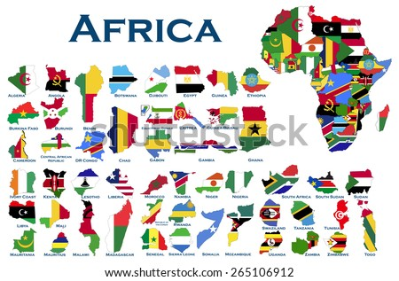 High detailed, editable maps and flags on white background of all African countries. - stock vector
