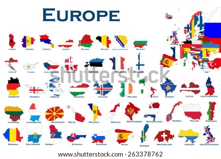 High detailed, editable maps and flags on white background of all European countries. - stock vector