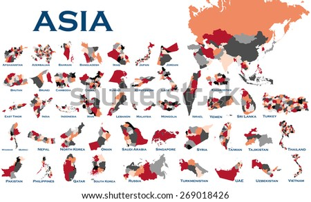 High detailed editable, political map of all Asian countries. - stock vector