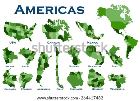 High detailed editable, political map of all North and South American countries. - stock vector