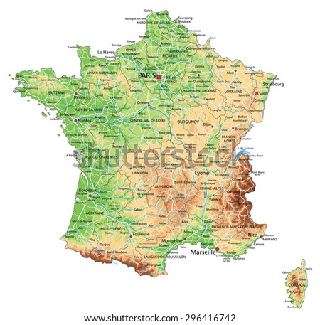 High detailed France physical map with labeling. - stock vector