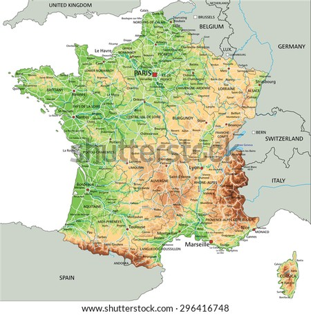 High Detailed France Physical Map Labeling Stock Vector 296416748