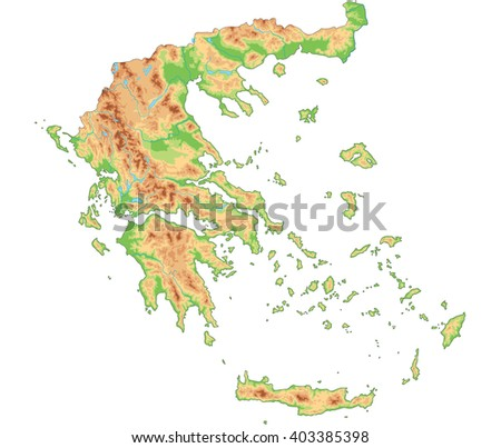 High Detailed Greece Physical Map Stock Vector 403385398 Shutterstock