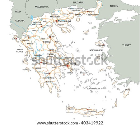 High Detailed Greece Road Map Labeling Stock Vector 2018 403419922