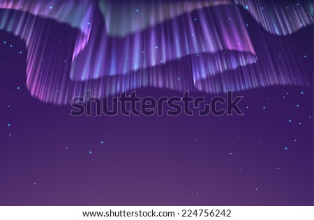 High detailed illustration of polar lights on the starry sky, EPS 10 contains transparency, mesh used. - stock vector