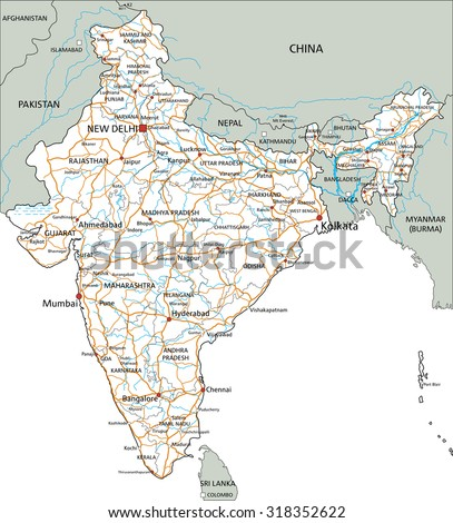 High detailed India road map with labeling. - stock vector