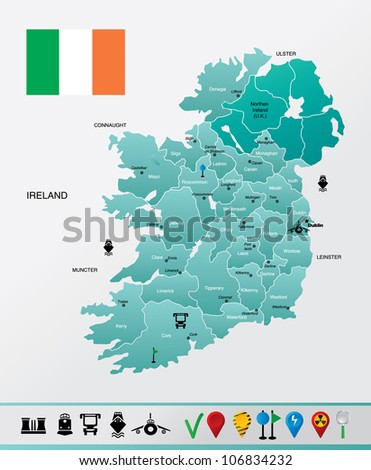 High detailed Ireland map with with towns and navigation icons. EPS 8 file format. - stock vector