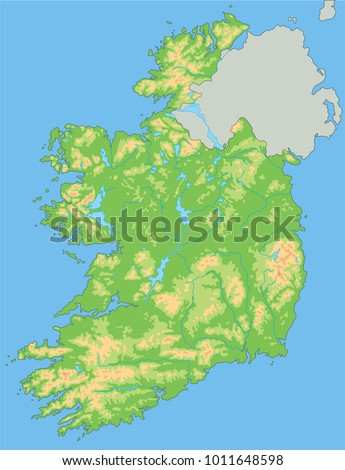 High Detailed Ireland Physical Map Labeling Stock Vector - Physical map of ireland