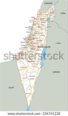 High Detailed Israel Road Map Labeling Stock Vector 336761228
