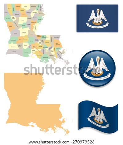 High Detailed Louisiana Map and Flag Icons - stock vector