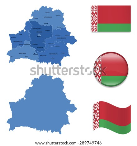 High Detailed Map of Belarus With Flag Icons - stock vector