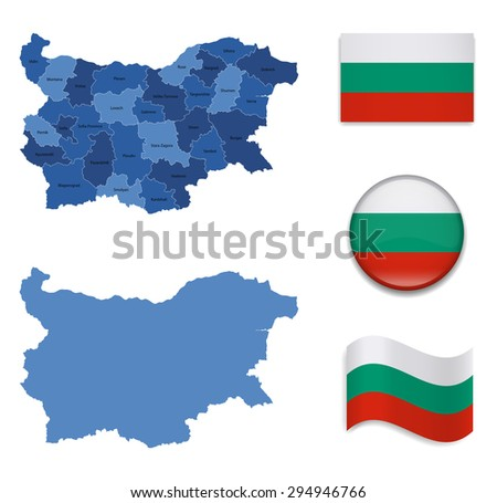 High Detailed Map of Bulgaria With Flag Icons - stock vector
