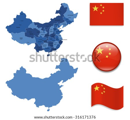 High Detailed Map of China With Flag Icons - stock vector
