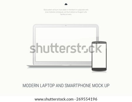 High-detailed modern blank laptop and smartphone vector mock up on white bakground - stock vector