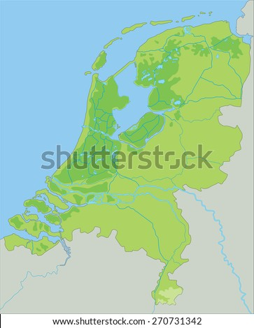 High detailed Netherlands physical map.