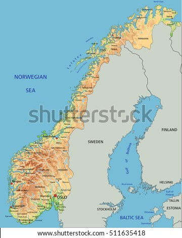 High Detailed Norway Physical Map Labeling Stock Vector 2018