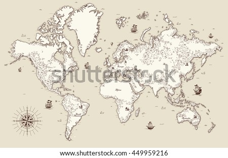 Hand drawn vector world map compass vectores en stock 641714224 high detailed old world map with decorative elements gumiabroncs Images