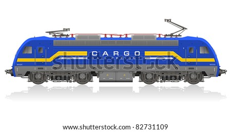 High detailed photorealistic vector model of blue electric locomotive isolated on white reflective background - stock vector