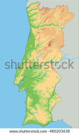 High Detailed Portugal Physical Map Stock Vector - Portugal elevation map