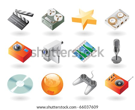 High detailed realistic vector icons for entertainment - stock vector