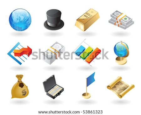High detailed realistic vector icons for global finance - stock vector