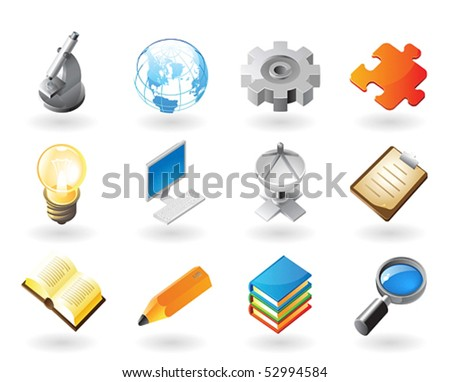 High detailed realistic vector icons for science, industry and technology - stock vector