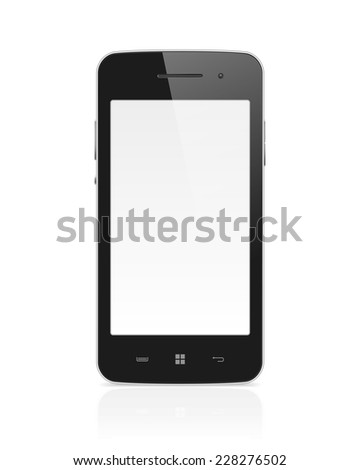 High detailed realistic vector illustration of modern mobile phone with blank screen on white background. - stock vector