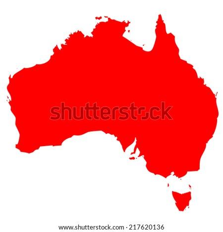 High detailed red vector map - Australia  - stock vector
