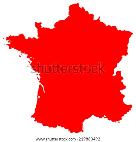 High detailed red vector map - France  - stock vector