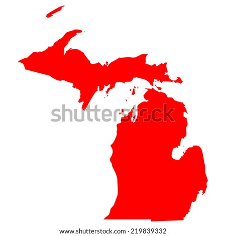 High detailed red vector map - Michigan  - stock vector