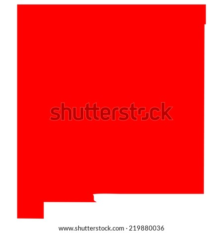 High detailed red vector map - New Mexico
