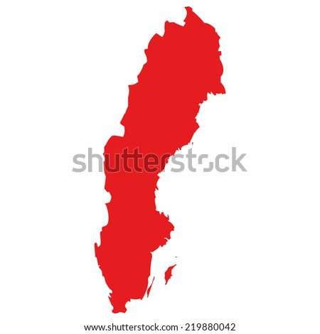 High detailed red vector map - Sweden  - stock vector