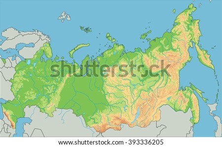 High Detailed Russia Physical Map.