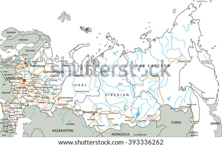 High detailed Russia road map with labeling.
