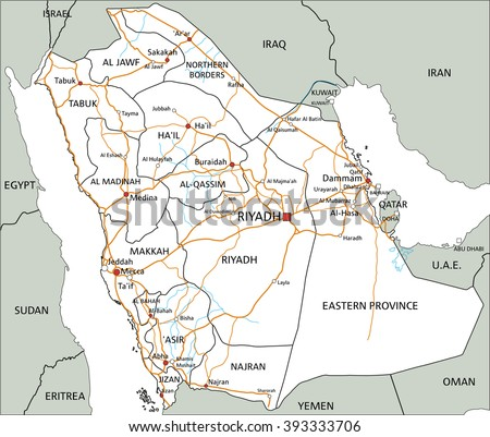 High detailed Saudi Arabia road map with labeling. - stock vector