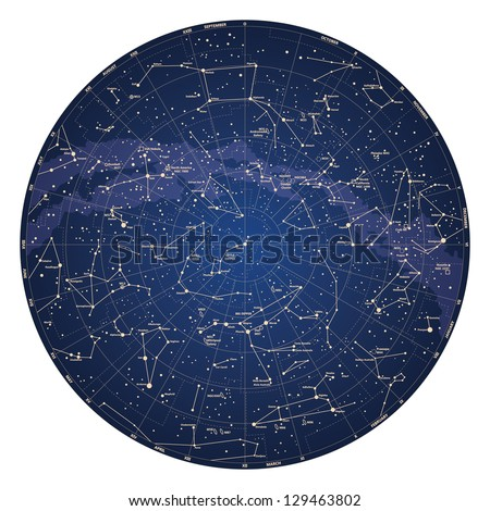 High detailed sky map of Northern hemisphere with names of stars and constellations colored vector - stock vector