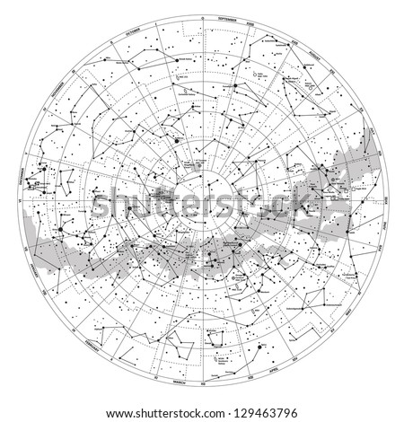 High detailed sky map of Southern hemisphere with names of stars and constellations vector - stock vector