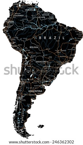 High detailed South America road map with labeling - Black. (clearly labeled on separated layers) - stock vector